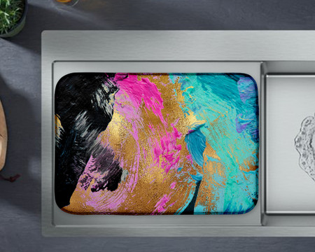 Abstract Paint Art Custom Dish mat Pastel Colors