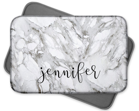Personalized Marble Print Dish Mat