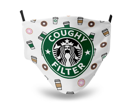 Coughy Filter Adjustable Face Mask Coffee Cups and Donuts