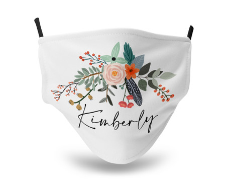 Country Flower Bouquet Personalized Face Mask