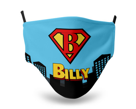 Superman Letter and Name Personalized Kids Face Mask