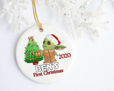 Baby Yoda's First Christmas Personalized Ornament - Favors, Decor & More