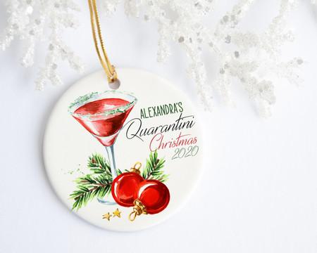 Personalized Quarentini Christmas Ornament