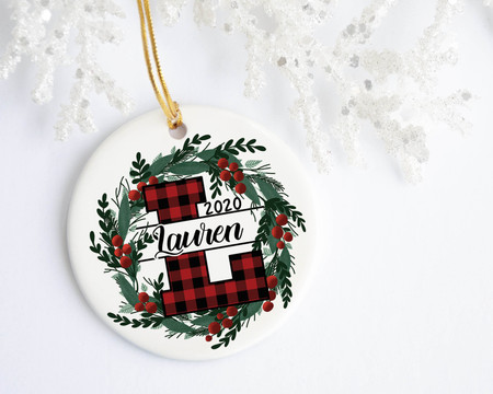Buffalo Check Red Letter Personalized Christmas Ornament