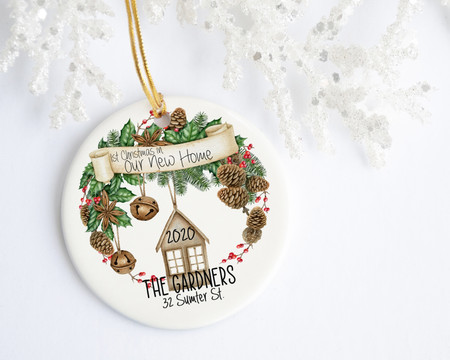 First Christmas in New Home Personalized Christmas Ornament