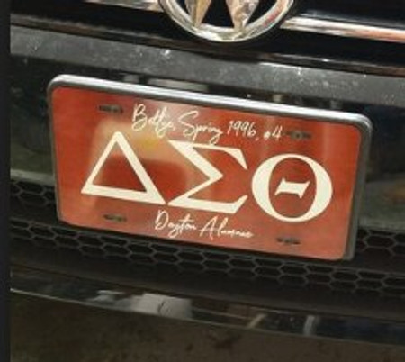 Delta Sigma Theta Car Tag Displayed on Vehicle