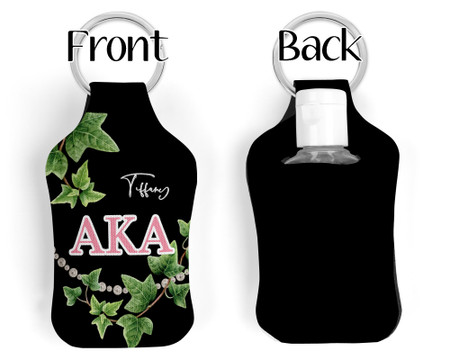Personalized Alpha Kappa Alpha Key chain Sanitizer Bottle Holder