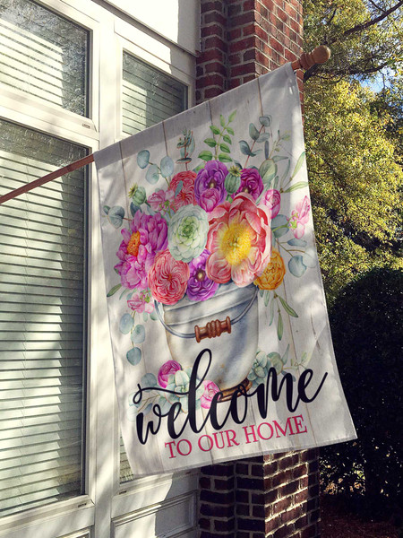 Spring Flowers Welcome Home House Flag