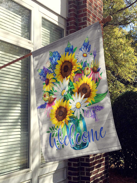 Daisy Bouquet Welcome Flag