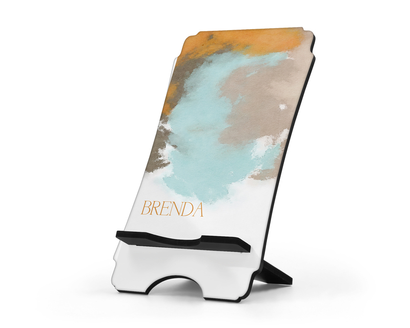 Personalized Cell Phone Stand Sunrise Watercolors