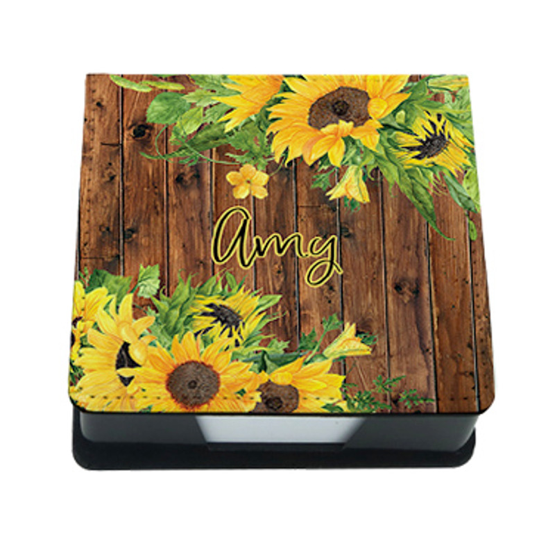 Personalized Post-It Note Holder, Memo Tray with Sunflowers