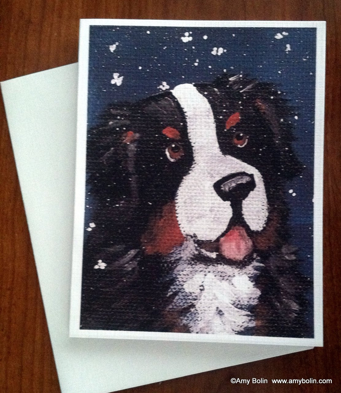 Pack of 4 Puppy Dog Bernese Mountain Stationery Greeting Notecards// Envelopes