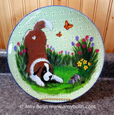 """Spring"" Saint Bernard creamer, sugar dish, and plate set"