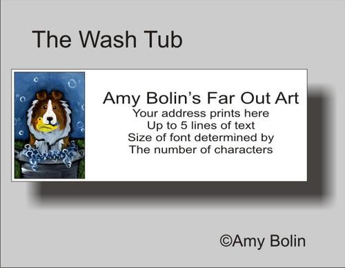 """The Wash Tub"" Sable Shetland Sheepdog Address Labels"