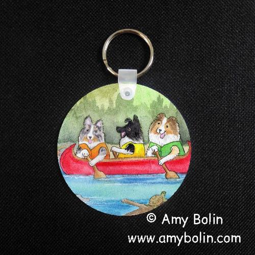 """Shelties On The River"" Bi Black, Blue Merle, Sable Shetland Sheepdog Keychain"
