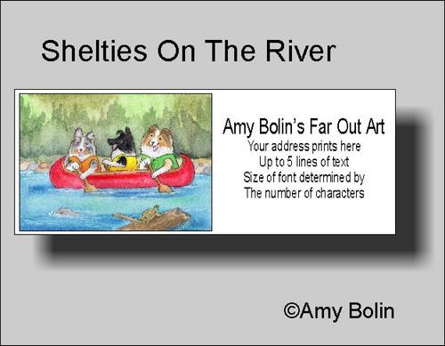 """Shelties On The River"" Bi Black, Blue Merle, Sable Shetland Sheepdog Address Labels"