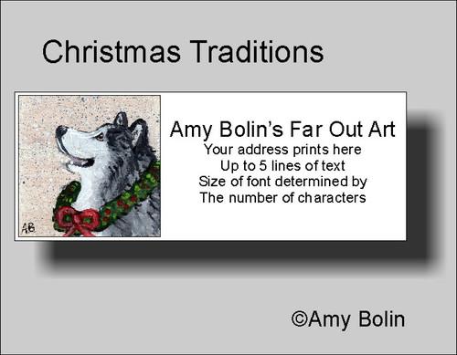 """Christmas Traditions"" Alaskan Malamute Address Labels"