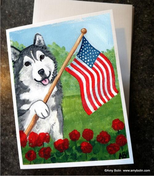 """Proud To Be American"" Alaskan Malamute Note Cards"