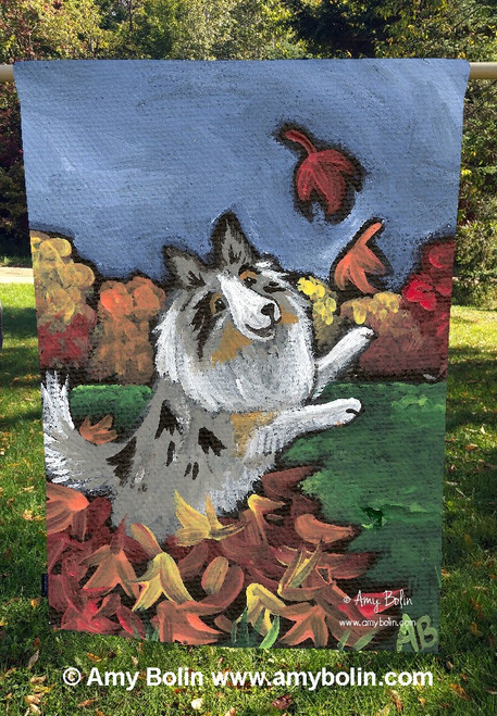 """Chasing Leaves"" Blue Merle Sheltie by Amy Bolin · House Flag"