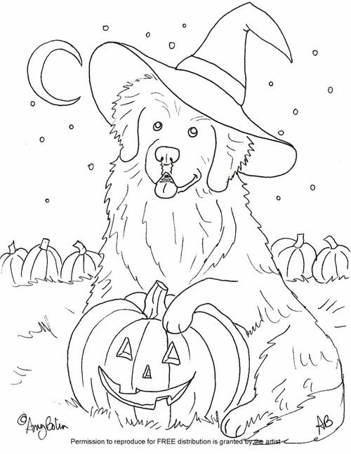 "FREE COLORING SHEET DOWNLOAD · ""Happy Halloween"" · NEWFOUNDLAND · AMY BOLIN"