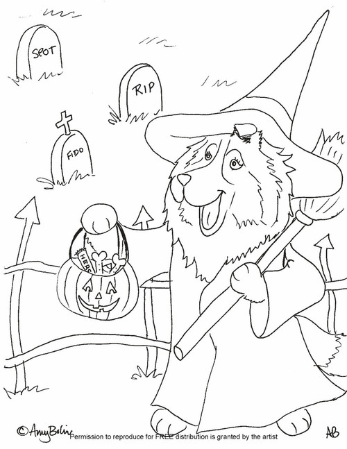 "FREE COLORING SHEET DOWNLOAD · ""Halloween Trick Or Treat"" · SHELTIE · AMY BOLIN"