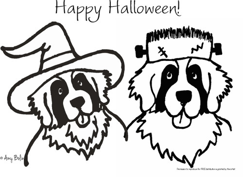 "FREE COLORING SHEET DOWNLOAD · ""Halloween Witch And Frankensaint"" · SAINT BERNARDS · AMY BOLIN"