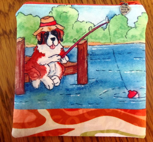 "Handmade Coin Purse     ""Gone Fishing""    Saint Bernard     By Dawn Johnson"