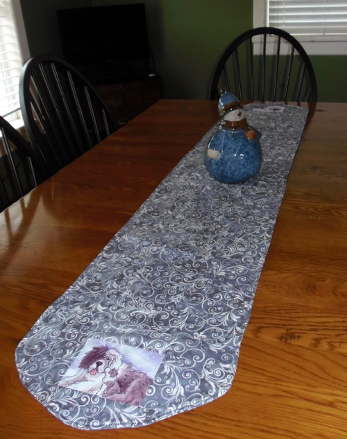 "Handmade Christmas table runner   67"" by 15 1/2""   ""Little Kiss""    Old English Sheepdog   By Dawn Johnson"
