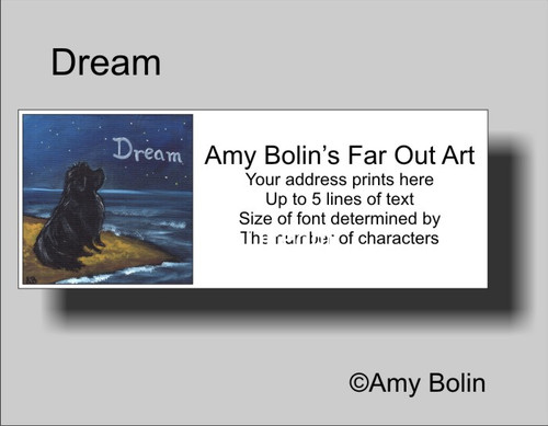 """Dream"" Black Newfoundland Address Labels"