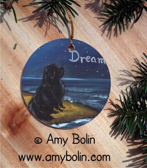 CERAMIC ORNAMENT · DREAM · BLACK NEWFOUNDLAND · AMY BOLIN