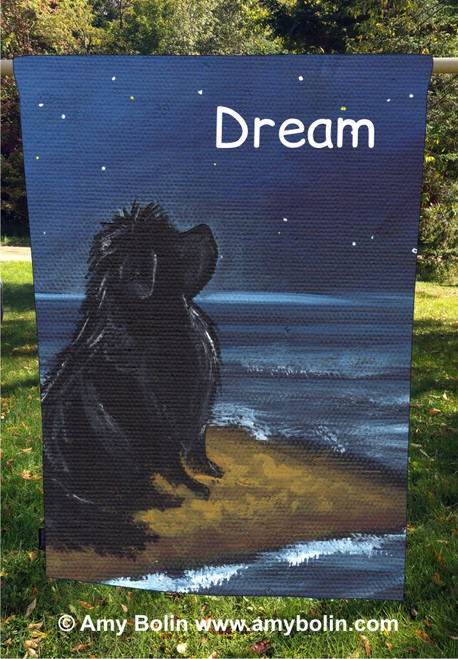 """Dream"" Black Newfoundland Dog by Amy Bolin · House Flag"