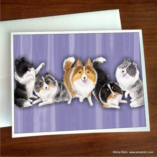 """Shades Of Shelties (Purple Background)"" Bi Black, Bi Blue, Blue Merle, Sable, Tri Color Shetland Sheepdog Note Cards"