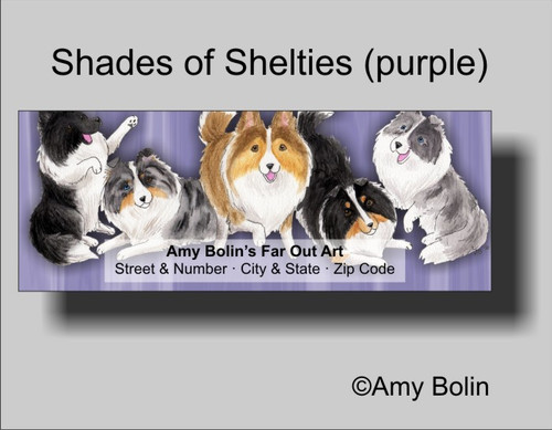 """Shades Of Shelties (Purple Background)"" Bi Black, Bi Blue, Blue Merle, Sable, Tri Color Shetland Sheepdog Address Labels"