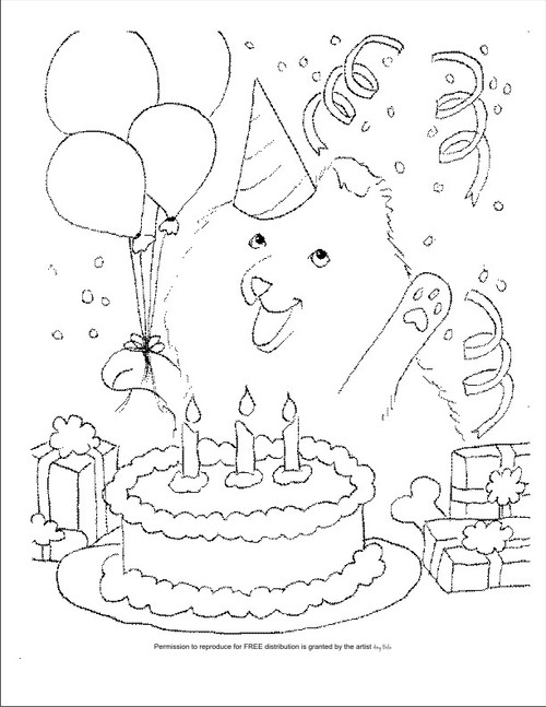 """FREE COLORING SHEET DOWNLOAD · """"Happy Birthday To You"""" · SHELTIE · AMY BOLIN"""