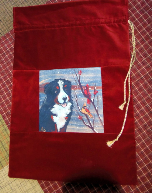 "Handmade Holiday  Velvet  Gift Bag             ""Bernese Mountain Dog with Cardinals ""            By Dawn Johnson"
