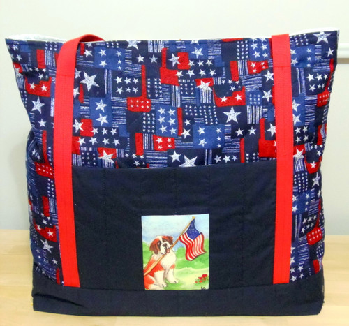 """Handmade quilted Purse/Tote      """"Proud To Be American""""      Saint Bernard        By Dawn Johnson"""