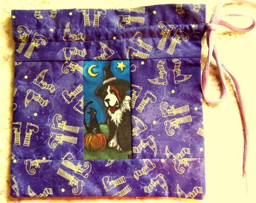 "MINI 8"" by 8""   Handmade Gift Bag          ""Happy Halloween 2""         Saint Bernard        By Dawn Johnson"