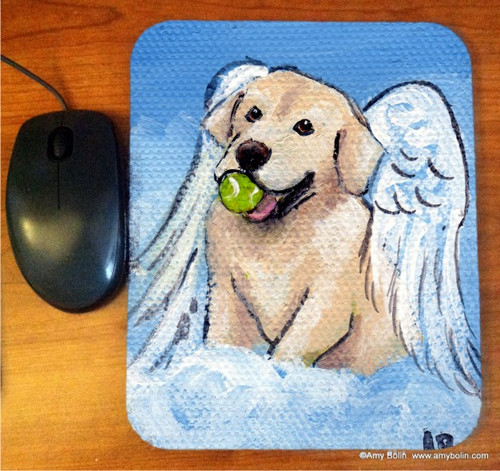 """Playful Angel"" Yellow Labrador Retriever Mouse Pad"