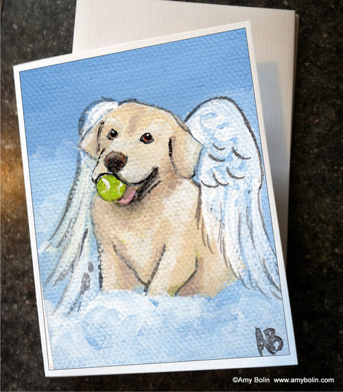 """Playful Angel"" Yellow Labrador Retriever Note Cards"