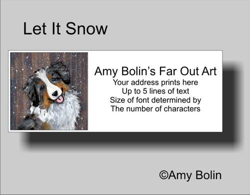 """""""Let It Snow"""" Australian Shepherd Address Labels"""