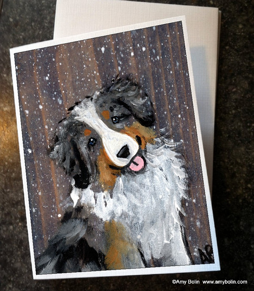 """""""Let It Snow"""" Australian Shepherd Note Cards"""