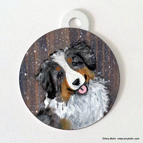 """Let It Snow"" Australian Shepherd Pet ID Tag"