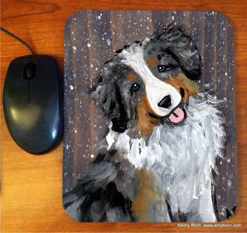 """Let It Snow"" Australian Shepherd Mouse Pad"