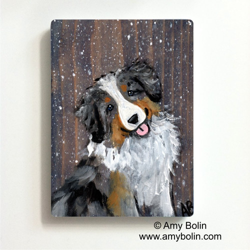 """Let It Snow"" Australian Shepherd Magnet"