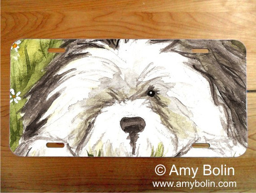 """""""Sheepie In The Daisies"""" Old English Sheepdog License Plate"""