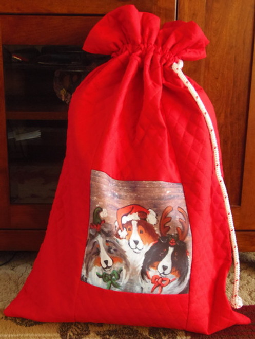 "Handmade Holiday Gift Bag             ""Christmas Buddies""    Shetland Sheepdogs       y Dawn Johnson"
