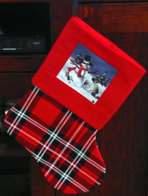 "Handmade Stocking     ""Hide and Seek""       Norweigan Elkhound Dog       By Dawn Johnson"