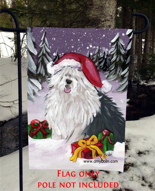 """""""Merry Christmas"""" Old English Sheepdog Garden Flag"""