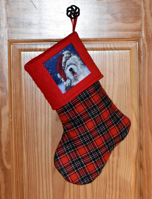 "Handmade Stocking     ""Shaggy Claws""      Old English Sheepdog      By Dawn Johnson"