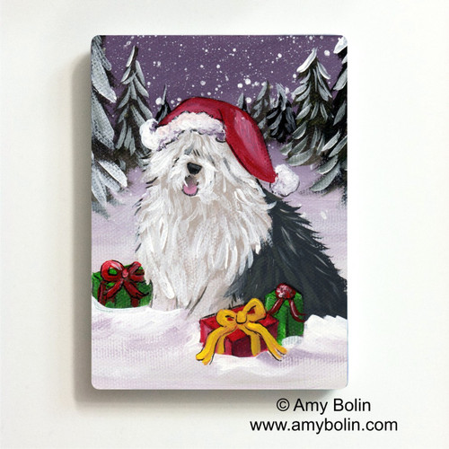 """Merry Christmas"" Old English Sheepdog Magnet"